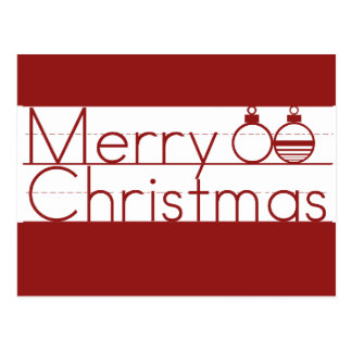 Merry Christmas Text with Ornaments Postcard