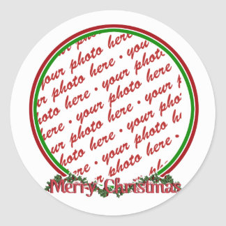 Merry Christmas Text with Wreath & Snow Classic Round Sticker