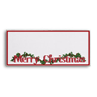 Merry Christmas Text with Wreath & Snow Envelope