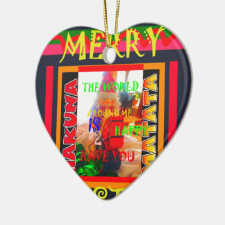 Merry Christmas The world around me is happy to ha Ceramic Ornament