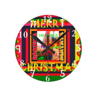 Merry Christmas The world around me is happy to ha Round Clock