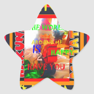 Merry Christmas The world around me is happy to ha Star Sticker