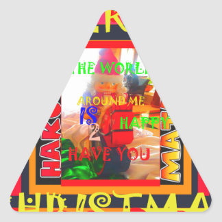 Merry Christmas The world around me is happy to ha Triangle Sticker