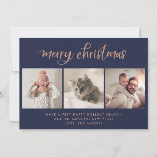 Merry Christmas | Three Photo Navy and Rose Gold Holiday Card
