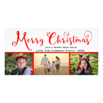 Merry Christmas Three Photo Script - Photo Card