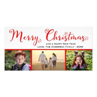 Merry Christmas Three Photo Script - Photo Card