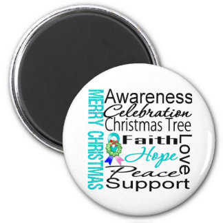 Merry Christmas Thyroid Cancer Ribbon Collage 2 Inch Round Magnet