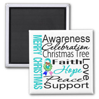 Merry Christmas Thyroid Cancer Ribbon Collage 2 Inch Square Magnet