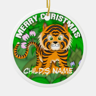 Merry Christmas Tiger Ceramic Ornament