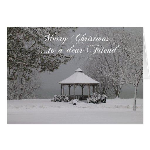 Merry Christmas to a dear Friend-Snow-scene Greeting Card