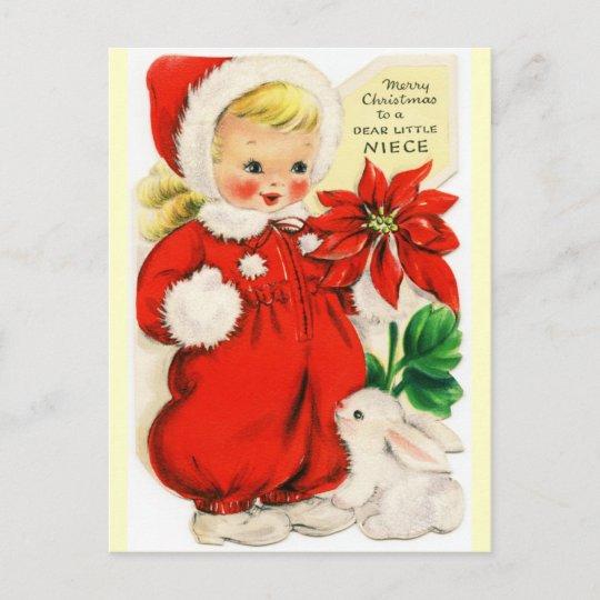 Merry Christmas Niece.Merry Christmas To A Dear Little Niece Vintage Holiday Postcard