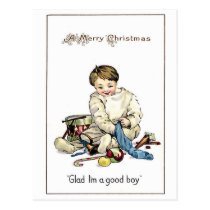 Merry Christmas to a good boy with lot of toys Postcard