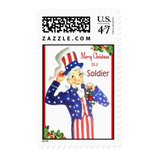 Merry Christmas To A Soldier Postage Stamps at Zazzle