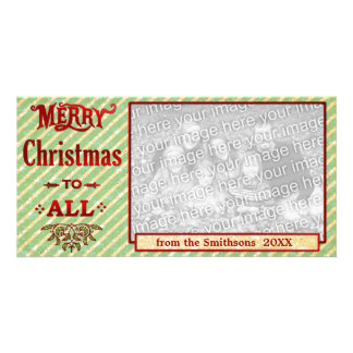 Merry Christmas to All Green Striped Custom Photo Card