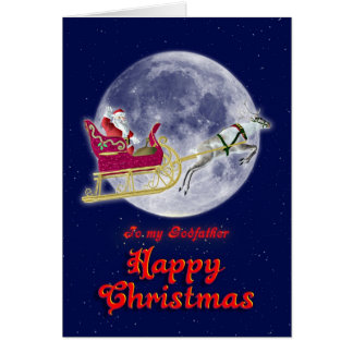 Merry Christmas to godfather, Santa in his sleigh Card