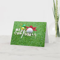 Merry Christmas to golfer  golf ball & ornament Holiday Card