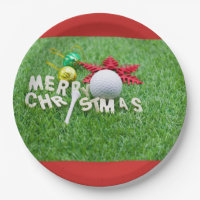 Merry Christmas to golfer golf ball & ornament Paper Plate