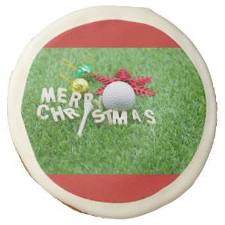 Merry Christmas to golfer golf ball & ornament Sugar Cookie