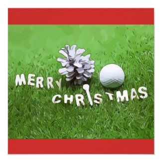 Merry Christmas to Golfer Invitation Card