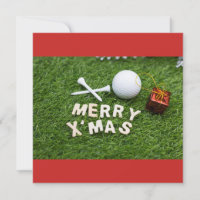 Merry Christmas to golfer with golf ball and gift