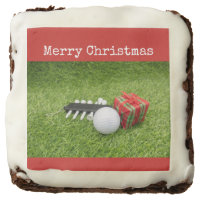 Merry Christmas to golfer with golf ball and gift Brownie