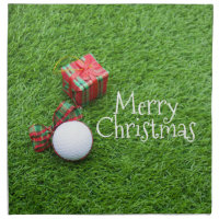 Merry Christmas to golfer with golf ball and gift Cloth Napkin