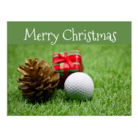 Merry Christmas to golfer with golf ball and gift Postcard