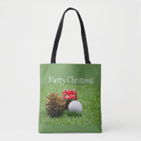 Merry Christmas to golfer with golf ball and gift Tote Bag