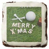 Merry Christmas to golfer with golf ball and tee Brownie
