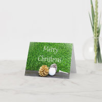 Merry Christmas to golfer with golf ball and tee Card