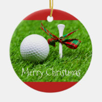 Merry Christmas to golfer with golf ball and tee Ceramic Ornament