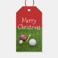 Merry Christmas to golfer with golf ball and tee Gift Tags
