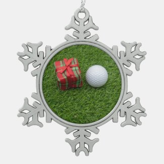 Merry Christmas to golfer with golf ball home deco Snowflake Pewter Christmas Ornament