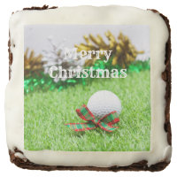 Merry Christmas to golfer with golf ball on grass Brownie