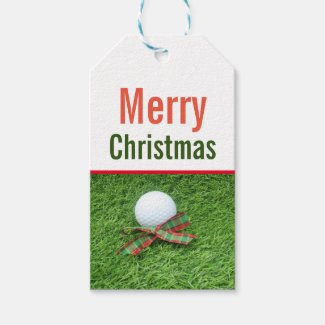 Merry Christmas to golfer with golf ball on green Gift Tags