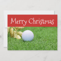 Merry Christmas to golfer with golf ball on green Holiday Card