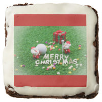 Merry Christmas to golfer with Santa and golf ball Brownie
