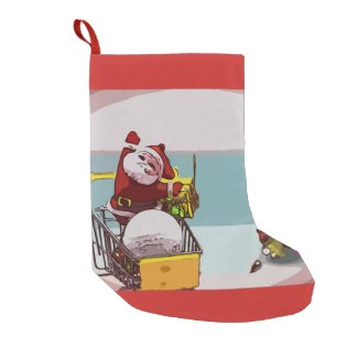 Merry Christmas to golfer with Santa shopping ball Small Christmas Stocking