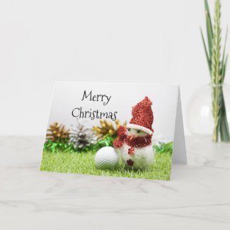 Merry Christmas to golfer with snowman & golf ball Holiday Card