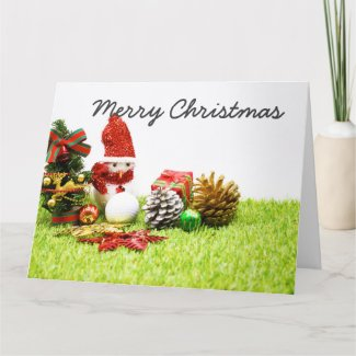 Merry Christmas to golfer with snowman Greeting Card