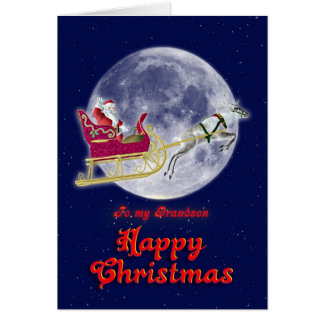 Merry Christmas to grandson, santa in his sleigh Card