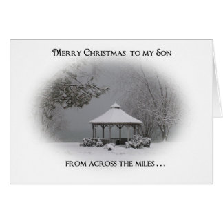 "Merry Christmas to Son-""from across the miles"" Greeting Card"