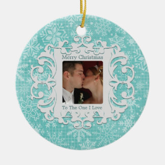 Merry Christmas to the One I Love Custom Photo Double-Sided Ceramic Round Christmas Ornament