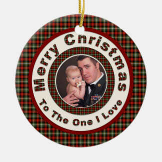 Merry Christmas to the One I Love  Holiday Photo Double-Sided Ceramic Round Christmas Ornament