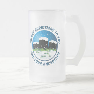 Merry Christmas To You And Your Ancestors Frosted Glass Beer Mug