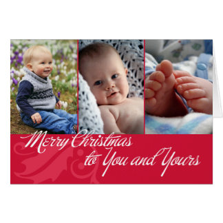 Merry Christmas to you and yours red 3 photos Card