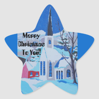 Merry Christmas to you, church in snow. Star Sticker