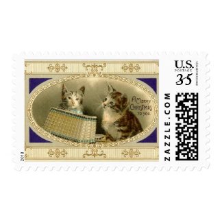 Merry Christmas To You Vintage Cats Postage Stamps