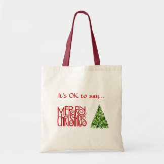 """""""Merry Christmas"""" Tote with Tree design Budget Tote Bag"""