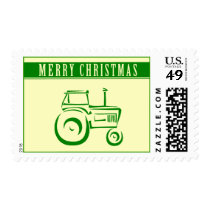 Merry Christmas Tractor Postage